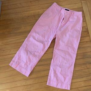 Pink wide leg cropped pants